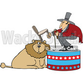 Cartoon of a Circus Tamer Holding a Chair and Whip over a Lion - Royalty Free Vector Clipart © Dennis Cox #1201671