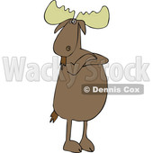 Cartoon of a Defiant Moose Standing Upright with Folded Arms - Royalty Free Vector Clipart © djart #1201672