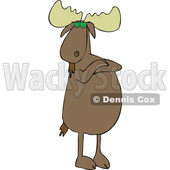 Cartoon of a Defiant Moose Wearing Sunglasses, Standing Upright with Folded Arms - Royalty Free Vector Clipart © djart #1201673