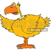 Cartoon of a Yellow Bird Pointing with a Wing - Royalty Free Vector Clipart © djart #1201676