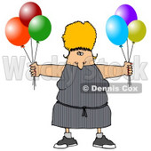 Blond Woman Holding Colorful Party Balloons Cartoon Clipart © djart #12030