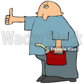 Man Holding a Gas Can and Hitch Hiking After Running Out of Gasoline Cartoon Clipart © djart #12032