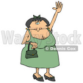 Hairy Woman With Lots of Body Hair Waving Cartoon Clipart © djart #12033