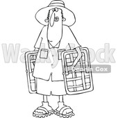 Cartoon of an Outlined Man Carrying Lawn Chairs - Royalty Free Vector Clipart © djart #1203369