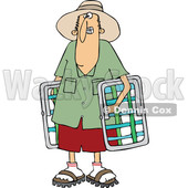 Cartoon of a White Man Carrying Lawn Chairs - Royalty Free Vector Clipart © djart #1203371