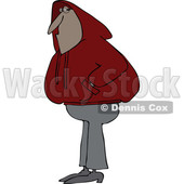 Cartoon of a Black Man Wearing a Red Hoodie Sweater - Royalty Free Vector Clipart © djart #1203375