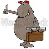 Brown Dog Hitchhiking and Carrying a Briefcase Cartoon Clipart © Dennis Cox #12034