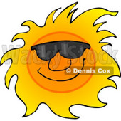 Happy Sun Wearing Shades Cartoon Clipart © Dennis Cox #12035