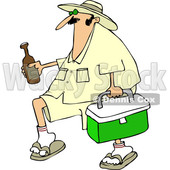 Cartoon of a Panama Joe Man Carrying a Cooler and Beer - Royalty Free Vector Clipart © Dennis Cox #1204229