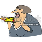 Cartoon of a Caucasian Woman Eating Corn - Royalty Free Vector Clipart © djart #1206356