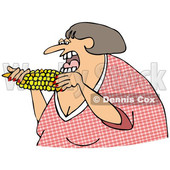 Cartoon of a Woman Eating Corn - Royalty Free Clipart © djart #1206358