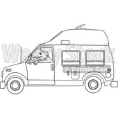 Cartoon of an Outlined Man Driving a Class B Motorhome - Royalty Free Vector Clipart © djart #1206727