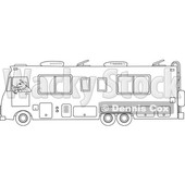 Cartoon of an Outlined Man Driving a Class a Motorhome - Royalty Free Vector Clipart © djart #1206728