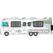 Cartoon of a Man Driving a White Class a Motorhome - Royalty Free Vector Clipart © djart #1206729
