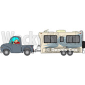 Cartoon of a Man Driving a Pickup Truck and Hauling a Camper Trailer - Royalty Free Vector Clipart © djart #1206730