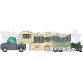 Cartoon of a Man Driving a Pickup Truck and Hauling a Trailer and ATV - Royalty Free Vector Clipart © djart #1206731