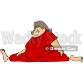 Cartoon of a Chubby White Woman Wincing and Doing the Splits in Red Sweats - Royalty Free Vector Clipart © djart #1207728