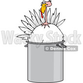 Cartoon of a Live Turkey Bird in a Pot - Royalty Free Vector Clipart © djart #1208656
