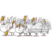 Cartoon of a Flock of Turkeys - Royalty Free Vector Clipart © djart #1208660