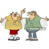 Cartoon of Two White Men Arguing and Gesturing with Their Hands - Royalty Free Clipart Vector Illustration © djart #1210303