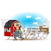 Cartoon of a Blind Farmer and Mooing Turkey Birds near a Cow - Royalty Free Clipart Illustration © djart #1210305