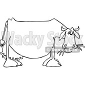 Cartoon of an Outlined Dairy Cow Eating Grass - Royalty Free Vector Clipart © djart #1210622