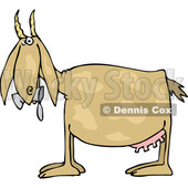 Cartoon of a Profiled Goat Eating Cans - Royalty Free Vector Clipart © djart #1210623