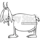 Cartoon of an Outlined Goat Eating and Pooping Cans - Royalty Free Vector Clipart © djart #1210624