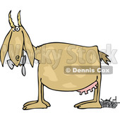 Cartoon of a Profiled Goat Eating and Pooping Cans - Royalty Free Vector Clipart © djart #1210625