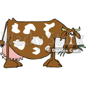 Cartoon of a Profiled Dairy Cow Eating Grass - Royalty Free Vector Clipart © djart #1210627