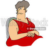 Cartoon of a Large Woman in a Red Dress, Sitting with Her Hands in Her Lap - Royalty Free Vector Clipart © djart #1210720