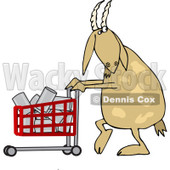 Cartoon of a Goat Pushing a Shopping Cart Full of Cans - Royalty Free Vector Clipart © djart #1212252