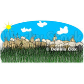 Cartoon of a Flock of Sheep and Goats in Tall Grass on a Sunny Day - Royalty Free Clipart © djart #1212254
