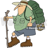 Cartoon of a Chubby Man in Hiking Gear, Holding a Stick - Royalty Free Vector Clipart © djart #1212920