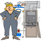 Cartoon of a Female HVAC Worker Standing by a Water Heater and Furnace - Royalty Free Vector Clipart © djart #1212922
