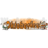 Cartoon of German Men and Women with Beer Around the Word OKTOBERFEST - Royalty Free Clipart © djart #1213313