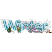 Cartoon of a Family and Men Shoveling Snow by the Word WINTER - Royalty Free Clipart © djart #1213314