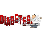 Cartoon of a Man Giving Himself an Insulin Shot by the Word DIABETES - Royalty Free Clipart © Dennis Cox #1213656