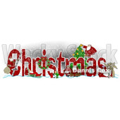 Clipart of the Word CHRISTMAS with Santa Mrs Claus Elves and Reindeer - Royalty Free Illustration © djart #1214224