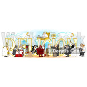 Clipart of People over RELIGION - Royalty Free Illustration © Dennis Cox #1214846