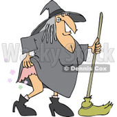 Clipart of a Witch Lifting Her Dress and Farting - Royalty Free Vector Illustration © djart #1215430