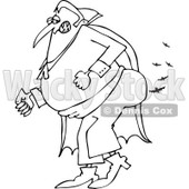 Clipart of an Outlined Vampire Farting Bats - Royalty Free Vector Illustration © djart #1215434