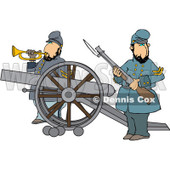 Clipart of Civil War Soldiers Holding a Rifle and Playing a Bugle Horn Beside a Cannon on the Battlefield - Royalty Free Vector Illustration © djart #1215703