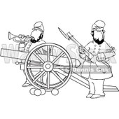Clipart of Outlined Civil War Soldiers Holding a Rifle and Playing a Bugle Horn Beside a Cannon on the Battlefield - Royalty Free Vector Illustration © Dennis Cox #1215704
