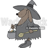 Clipart of a Halloween Dog Trick or Treating in a Witch Costume - Royalty Free Vector Illustration © djart #1215707