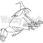Clipart of an Outlined Chubby Halloween Witch Flying on a Vacuum - Royalty Free Vector Illustration © djart #1215709