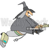 Clipart of a Chubby Halloween Witch Flying on a Vacuum - Royalty Free Vector Illustration © Dennis Cox #1215710
