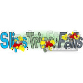 Clipart of a Slipping Tripping and Falling Woman over Slips Trips and Falls Text over Green and White - Royalty Free Illustration © djart #1215712