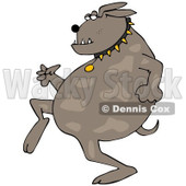 Clipart of a Sneaky Dog Running Upright - Royalty Free Vector Illustration © djart #1216240