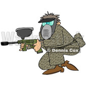 Clipart of a Man in Camo, Crouching with a Paintball Gun - Royalty Free Illustration © Dennis Cox #1216926